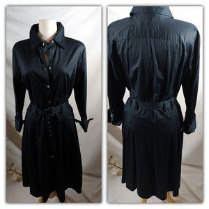 Alfani belted black career snap front dress